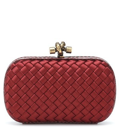 Knot snake-trimmed satin box clutch