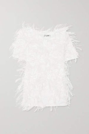 Feather-embellished Cotton-jersey T-shirt - White