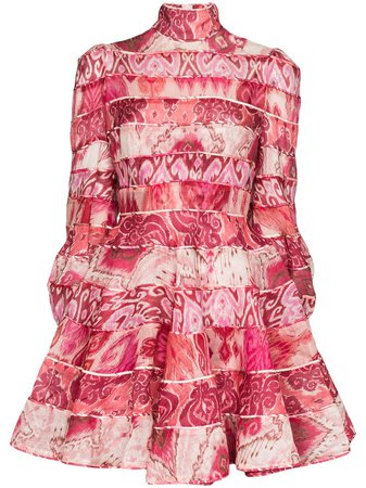 Zimmermann Ikat Print Mini Dress 7741DWAV Pink | Farfetch