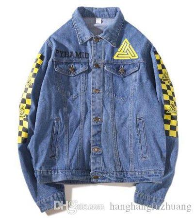 BLACK PYRAMID New 2018 High End Fashion Plaid Print Pyramid Denim Jacket Men'S Denim Men'S Jacket Street Jacket Clothing Blue Ja Coats And Jackets For Men From Hanghangfuzhuang, $58.89  DHgate.Com
