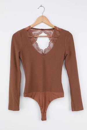 Sexy Light Brown Bodysuit - Open Back Bodysuit - Lace Bodysuit