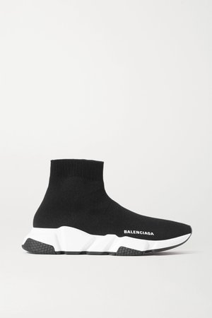 Black Speed stretch-knit high-top sneakers | Balenciaga | NET-A-PORTER