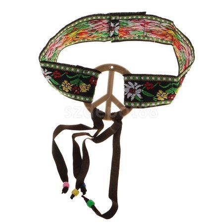 Hippie Headband Peace Sign Flower Embroidery Tassel Hairband Hippy Women Girls 60s 70s Fancy Dress Party
