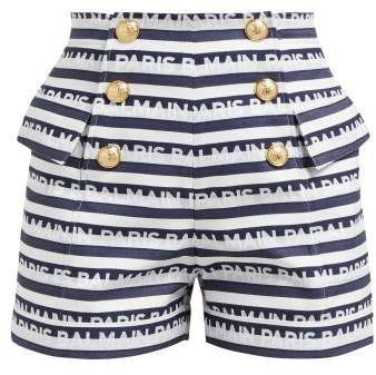 Logo Striped Cotton Shorts - Womens - Navy White