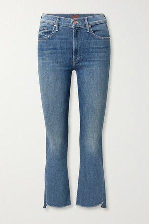 The Insider Frayed Cropped High-rise Flared Jeans - Dark denim