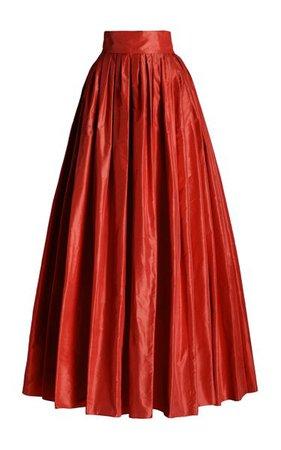 Pleated Silk Ball Skirt By Carolina Herrera   Moda Operandi