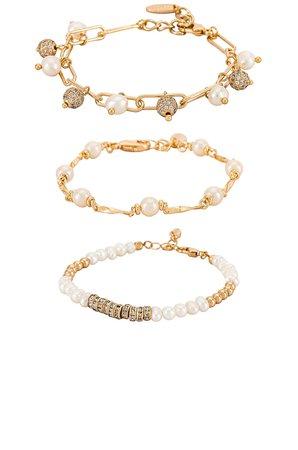 Ettika Pearl Bracelet Set in Gold | REVOLVE