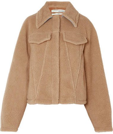 Bear Denim-trimmed Faux Shearling Jacket - Beige