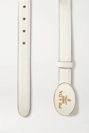 White Textured-leather belt | Prada | NET-A-PORTER