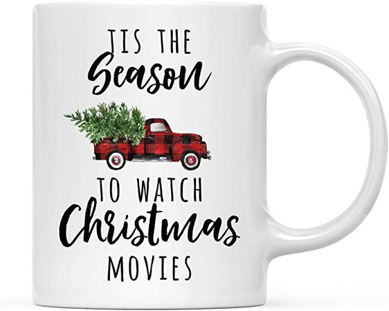 Amazon.com: Andaz Press Funny Holiday Winter Christmas 11oz. Coffee Mug Gift, Tis The Season to Watch Christmas Movies, Red Truck with Christmas Tree, 1-Pack, Novelty Birthday Christmas Hot Chocolate Cup: Kitchen & Dining
