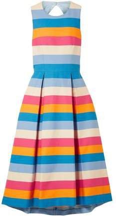 Tie-back Striped Cotton-blend Midi Dress