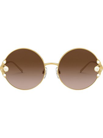 Shop gold & brown Dolce & Gabbana Eyewear pearl-embellished round-frame sunglasses with Express Delivery - Farfetch