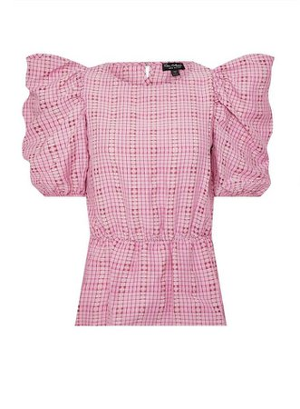Pale Pink Check Puff Sleeve Blouse | Miss Selfridge
