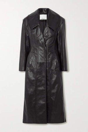 Zip-detailed Paneled Leather Coat - Black