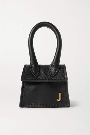 Le Chiquito Micro Textured-leather Tote - Black