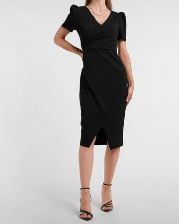 Puff Sleeve Wrap Front Sheath Dress | Express