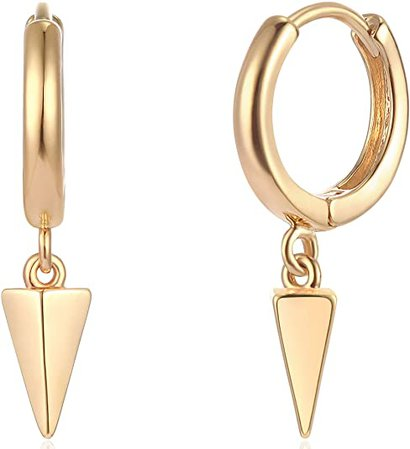 Amazon.com: Mevecco Gold Dainty Dangle Hoop Earrings for Women 14K Gold Plated Delicate cute Geometric Triangle Cone Dangle Earrings(awl): Clothing