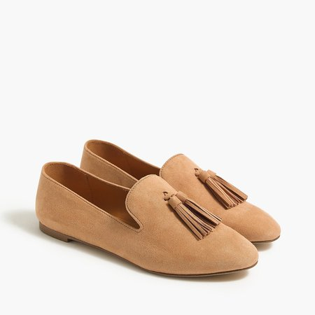 Faux-suede smoking loafers with tassels