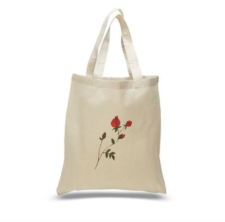 Rose Canvas Tote Bag - Etsy