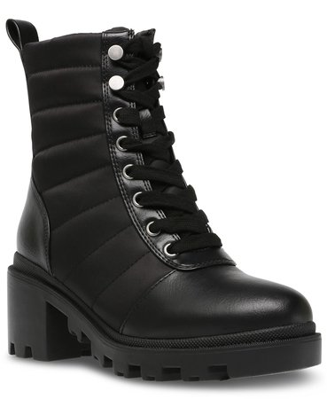 black DV Dolce Vita Nilda Trapunto Lace-Up Lugsole Booties & Reviews - Boots - Shoes - Macy's