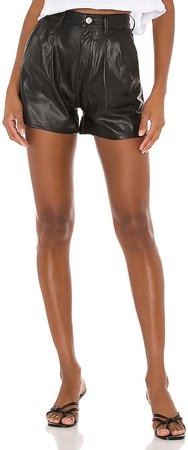 High Rise Faux Leather Short