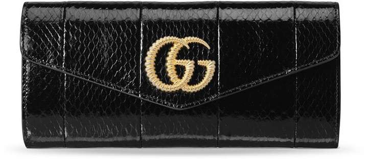 Broadway snakeskin double G clutch