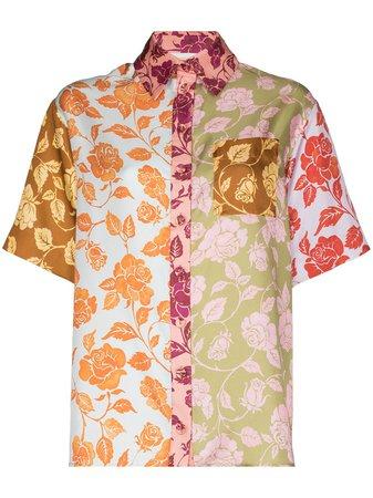 Zimmermann Rose Print Panelled Silk Shirt - Farfetch