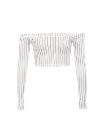 'DEVOTED' White Striped Mesh Off Shoulder Top