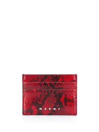 Marni Snake Print Cardholder PFMI0002L3P3330 Red | Farfetch