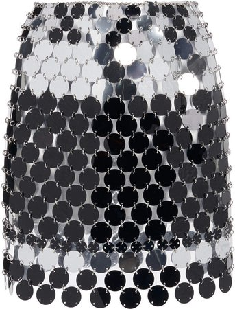 Paco Rabanne Striped Metallic Sequin Mini Skirt