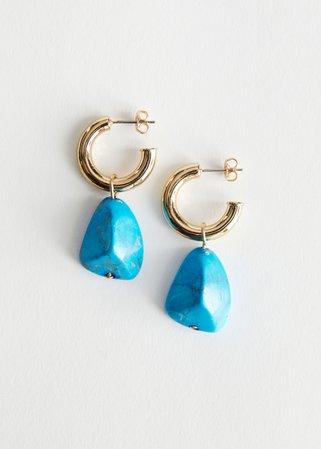 Stone Pendant Open Hoop Earrings - Blue - Hoops - & Other Stories