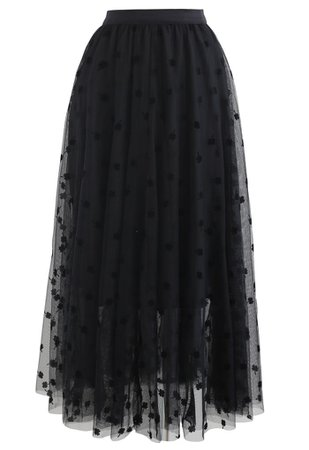 3D Clover Double-Layered Mesh Midi Skirt in Black - Retro, Indie and Unique Fashion