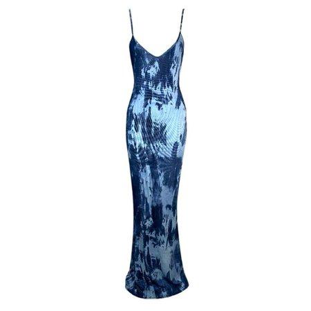 F/W 2000 Christian Dior John Galliano Plunging Slinky Blue Long Gown Dress