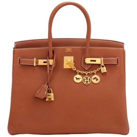 Hermes Birkin 35 Gold Togo Camel Tan Gold Hardware Bag Y Stamp, 2020 For Sale at 1stDibs