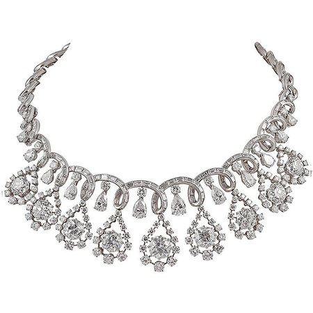 Platinum Diamond Necklace, circa 1960s For Sale at 1stdibs