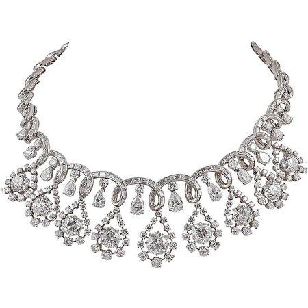 Platinum Diamond Necklace, circa 1960s For Sale at 1stdibs