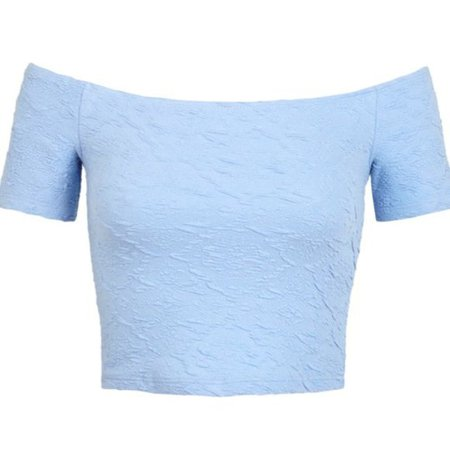 Off The Shoulder Pastel Blue Crop Top