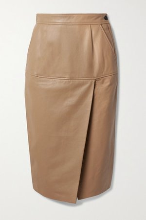 Khloelle Leather Skirt - Beige