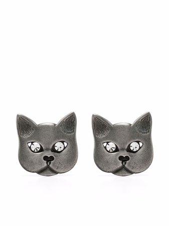 Alessandra Rich crystal-embellished Cat Earrings - Farfetch