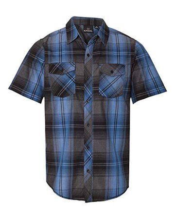 Amazon.com: Burnside B9202 Men's Plaid Short Sleeve Shirt Navy Small: Clothing