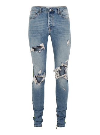 Light Wash Stacker Side Taping Jeans - TOPMAN USA