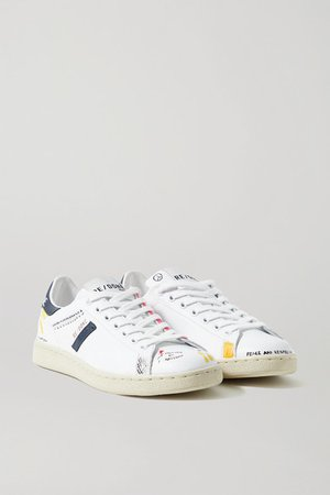 70s Tennis Printed Leather Sneakers - White