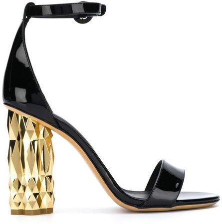 contrast block heel sandals