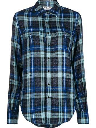 Saint Laurent Camisa Con Motivo De Cuadros - Farfetch