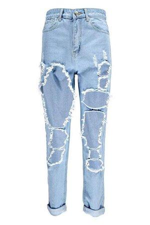 Shredded Leg Mom Jeans | Boohoo