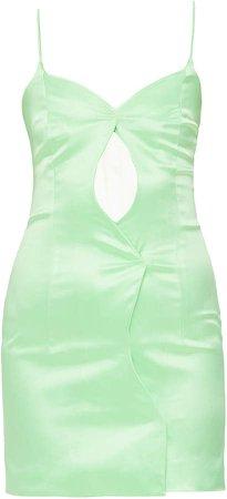 Mach & Mach Lime Green Cut Out Short Dress