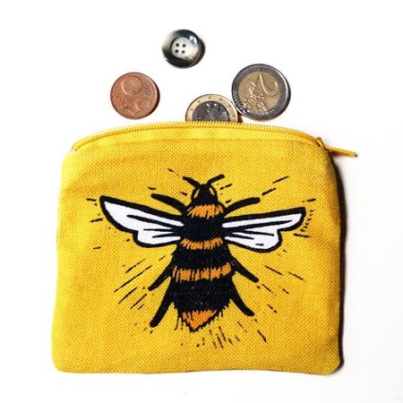 embroidered bee change pouch