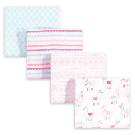 hudson baby 4-Pack Llama Cotton Blanket in Pink   Bed Bath and Beyond Canada