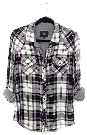 Rails Kendra Plaid Shirt In Black White, $140 | Ron Herman | Lookastic.com