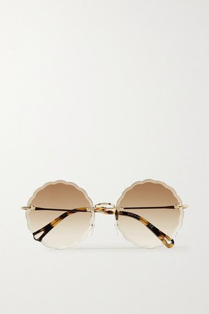 Chloé | Rosie round-frame gold-tone and tortoiseshell acetate sunglasses | NET-A-PORTER.COM